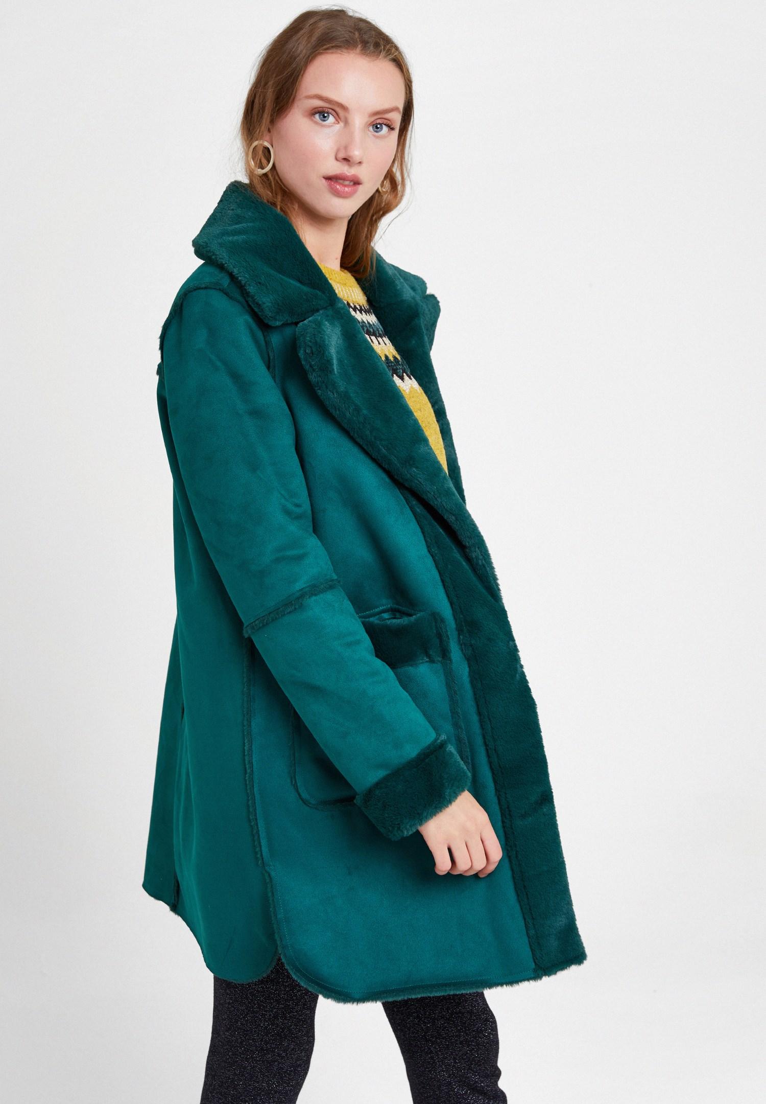 Women Green Two Side Faux Fur Coat