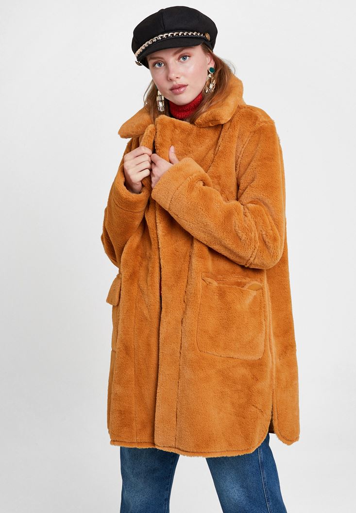 Orange Two Side Faux Fur Coat