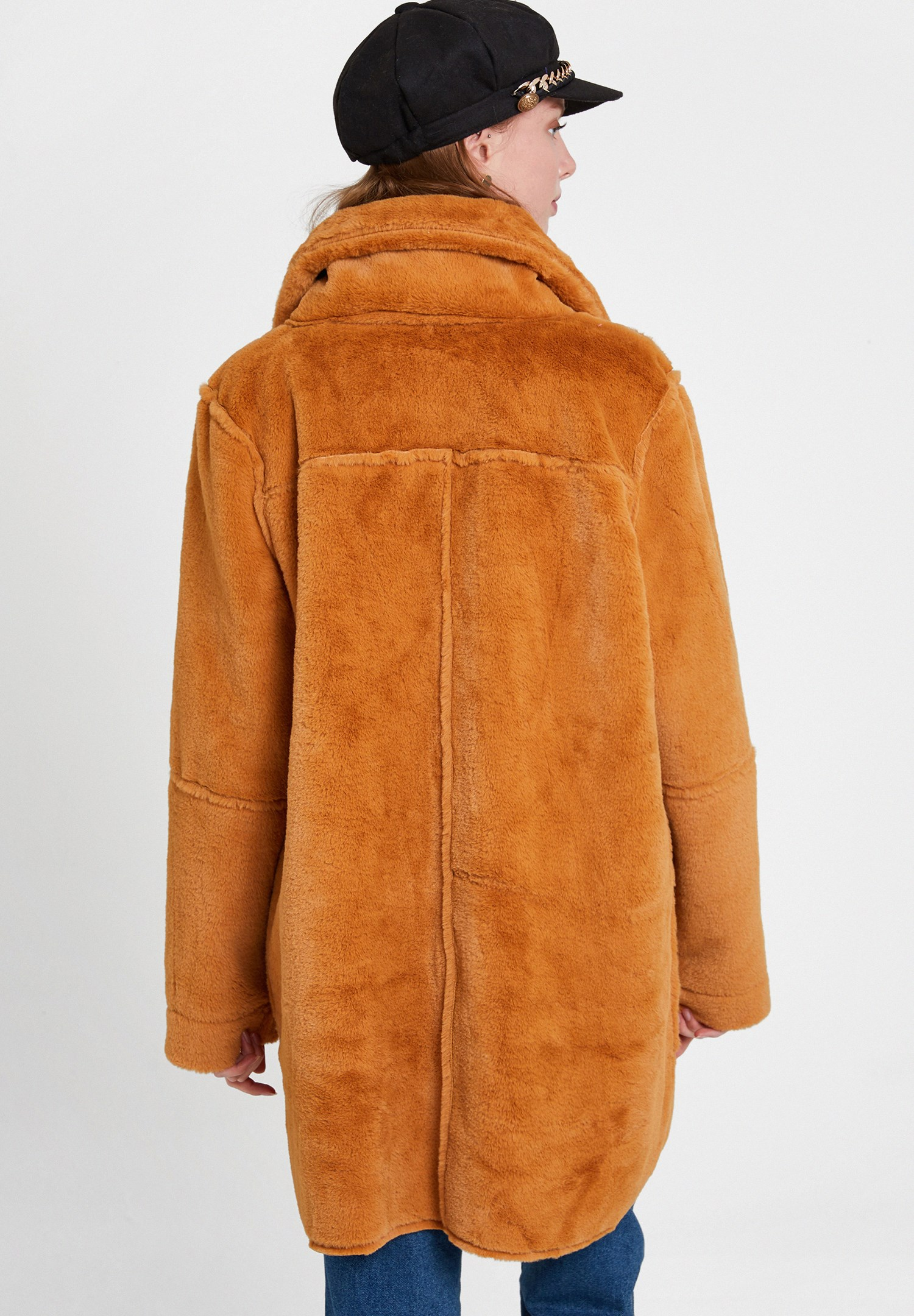 Women Orange Two Side Faux Fur Coat