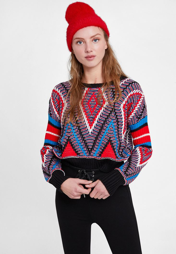 Black Mix Pattern Knitwear with Detail