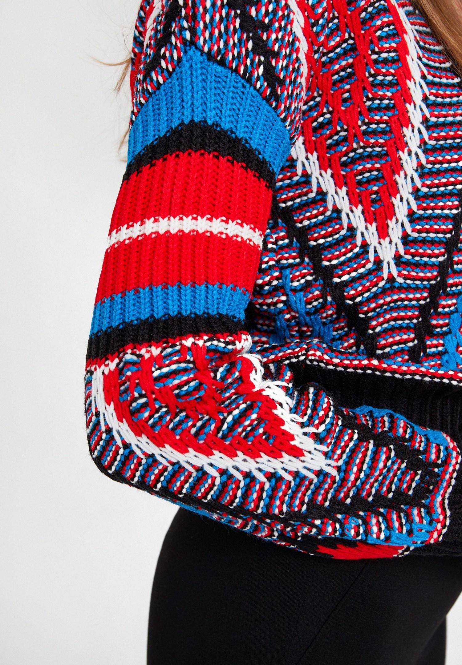 Women Black Mix Pattern Knitwear with Detail