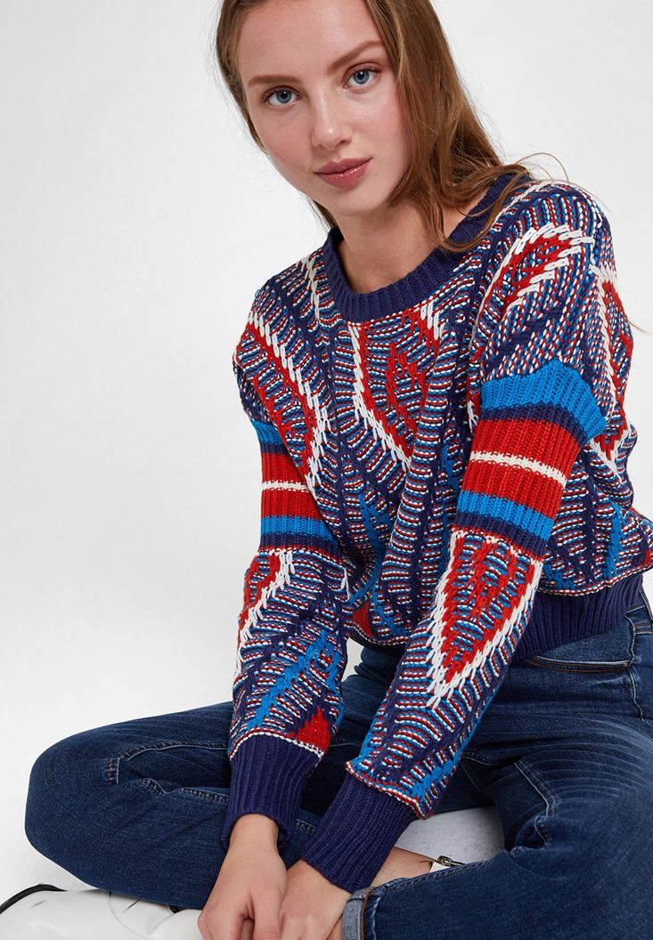 Mix Pattern Knitwear with Detail