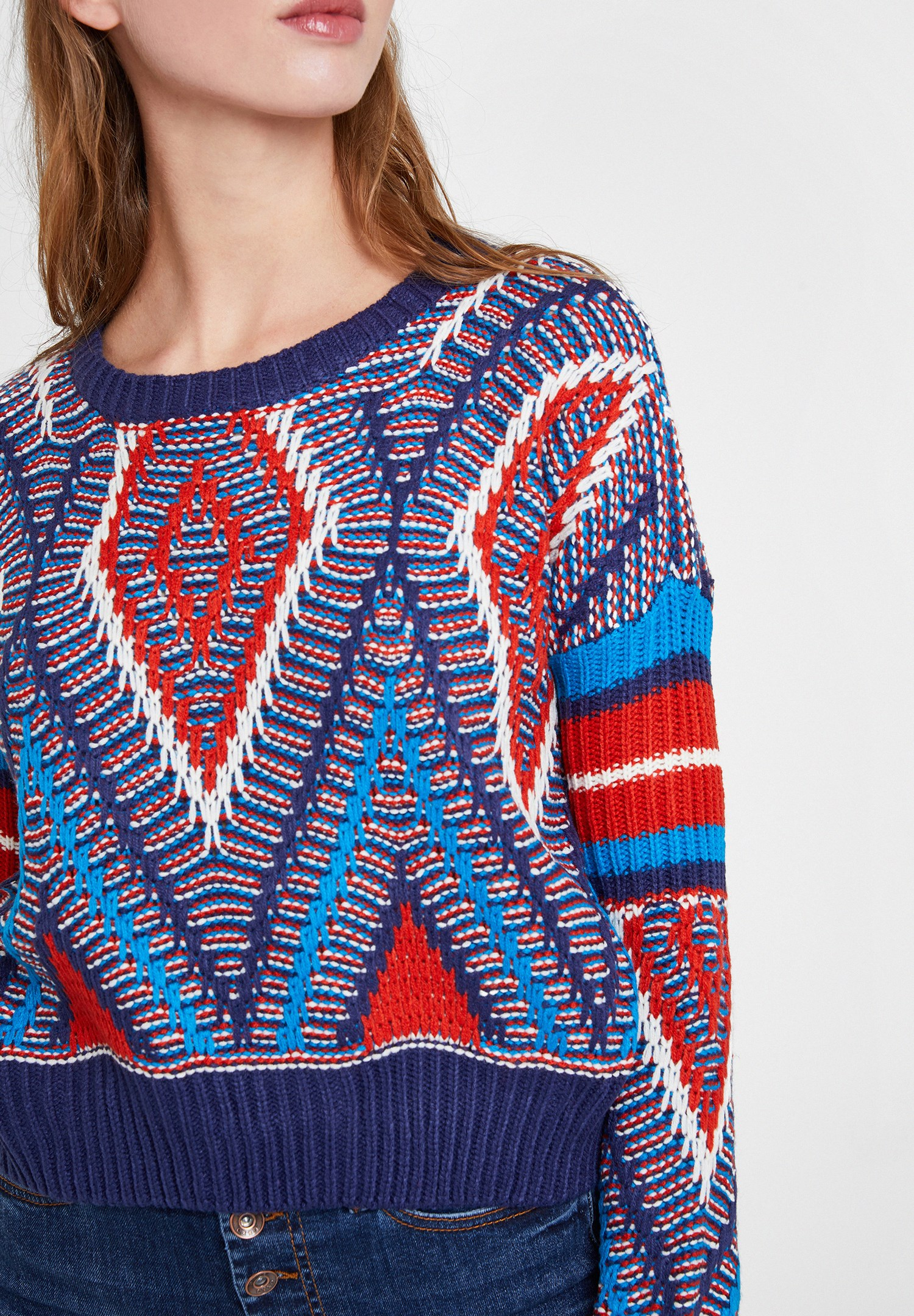 Women Navy Mix Pattern Knitwear with Detail