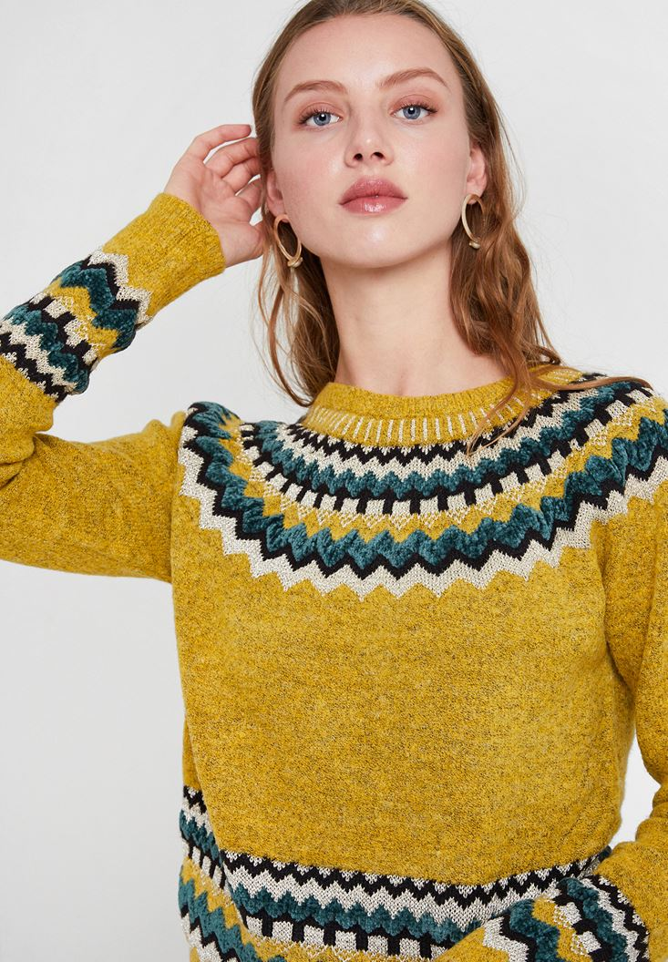 Yellow Mix Pattern Knitwear
