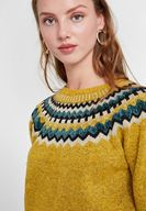 Women Yellow Mix Pattern Knitwear