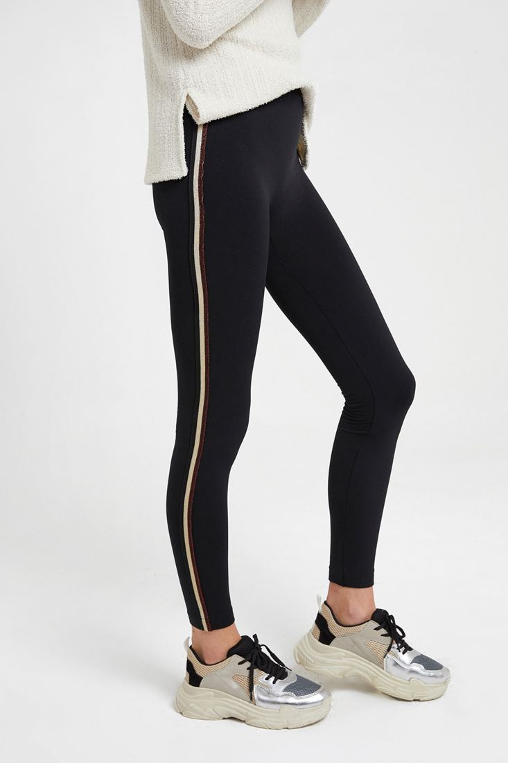 Black Leggings with Stripe Details