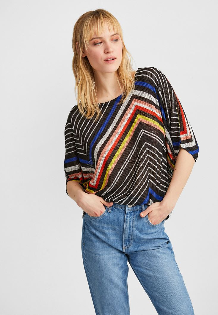 Mixed Striped Oversize Blouse