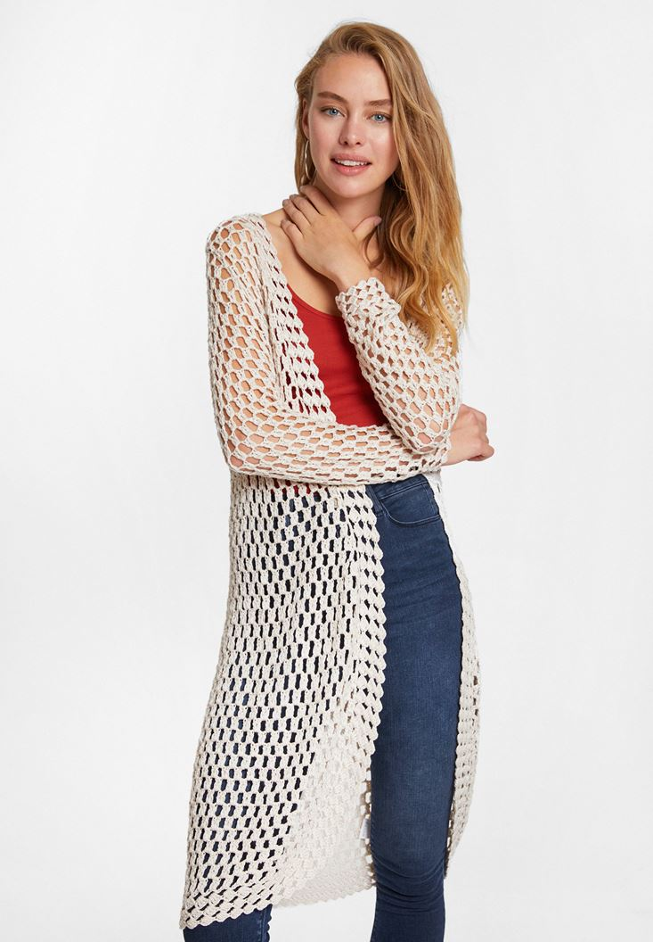 Brown Cardigan with Perforations