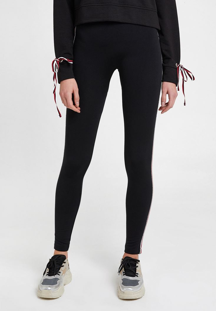 Black Legging with Side Stripes