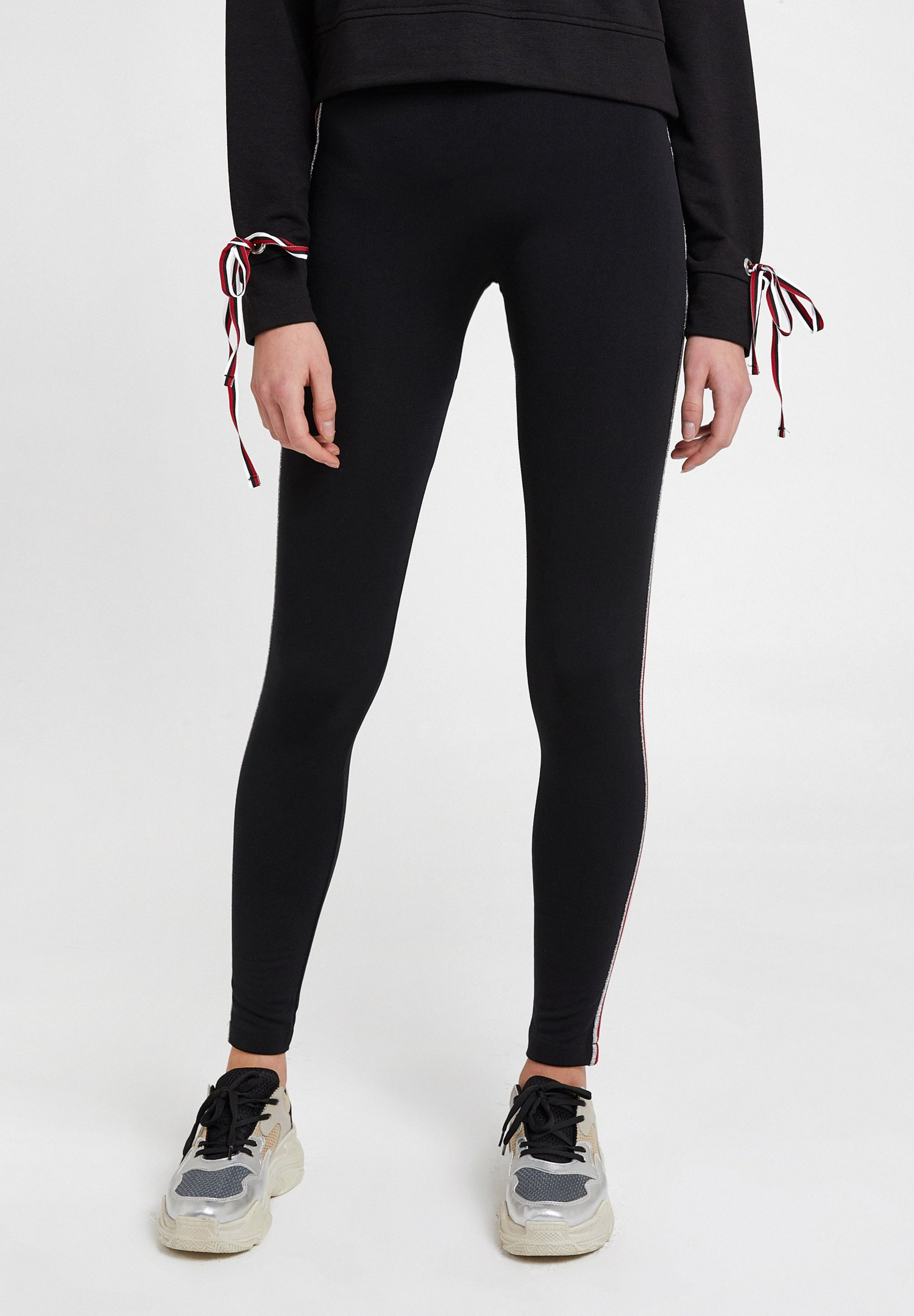 Women Black Legging with Side Stripes