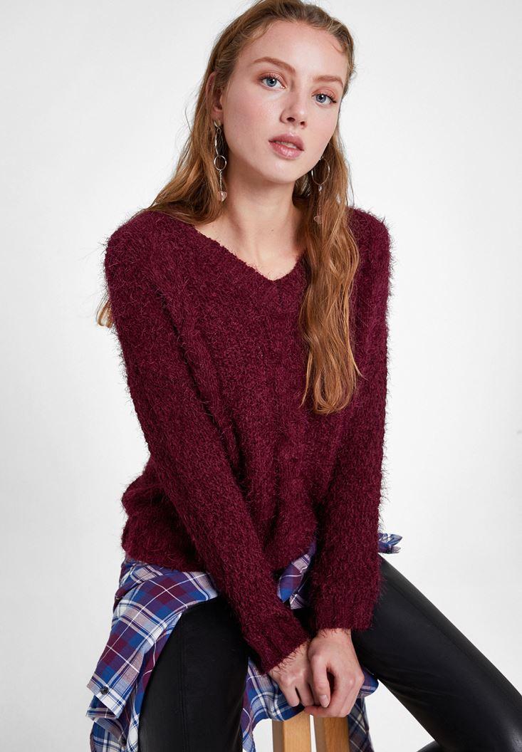 Purple V Neck Knit Sweater