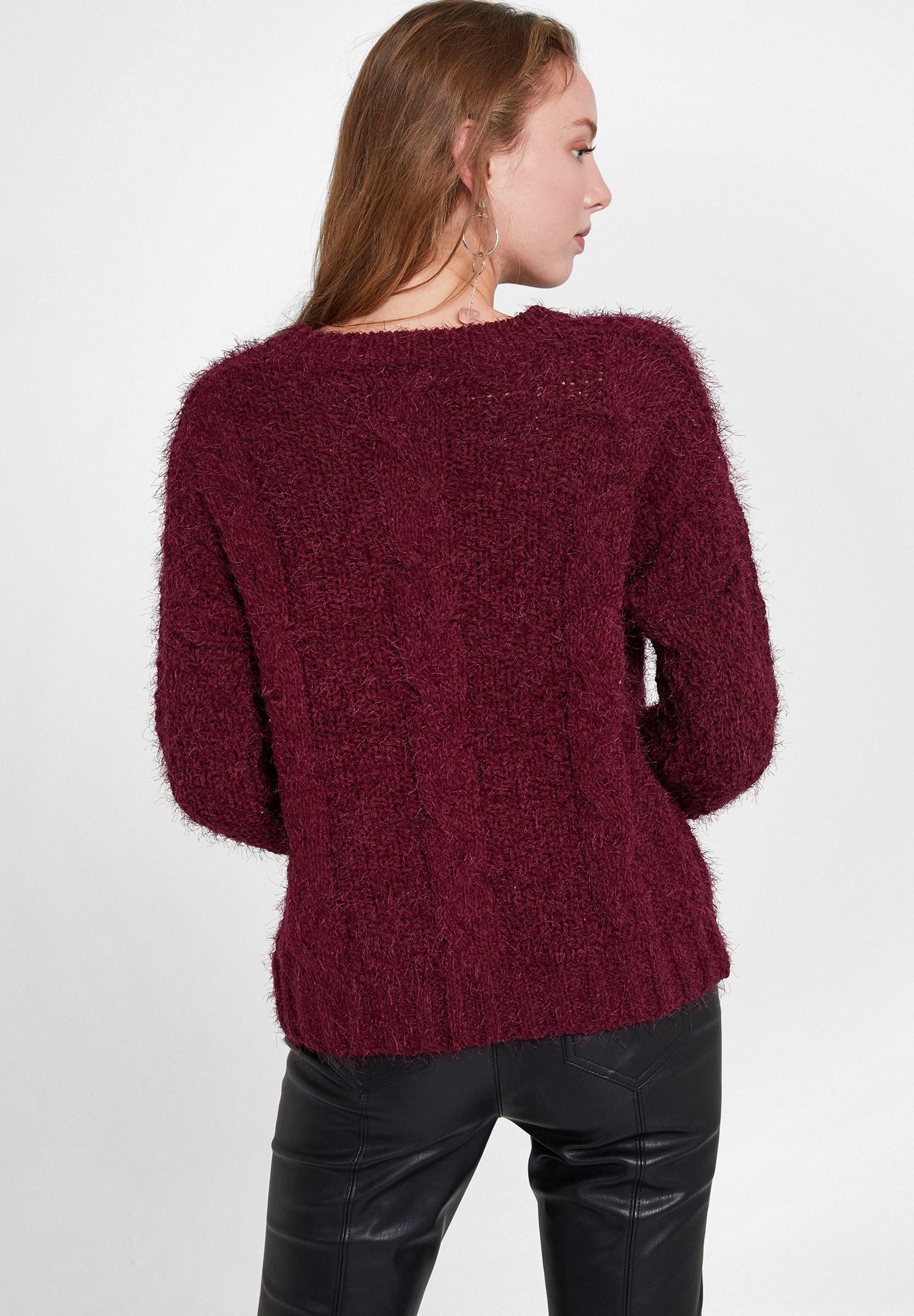 Women Purple V Neck Knit Sweater