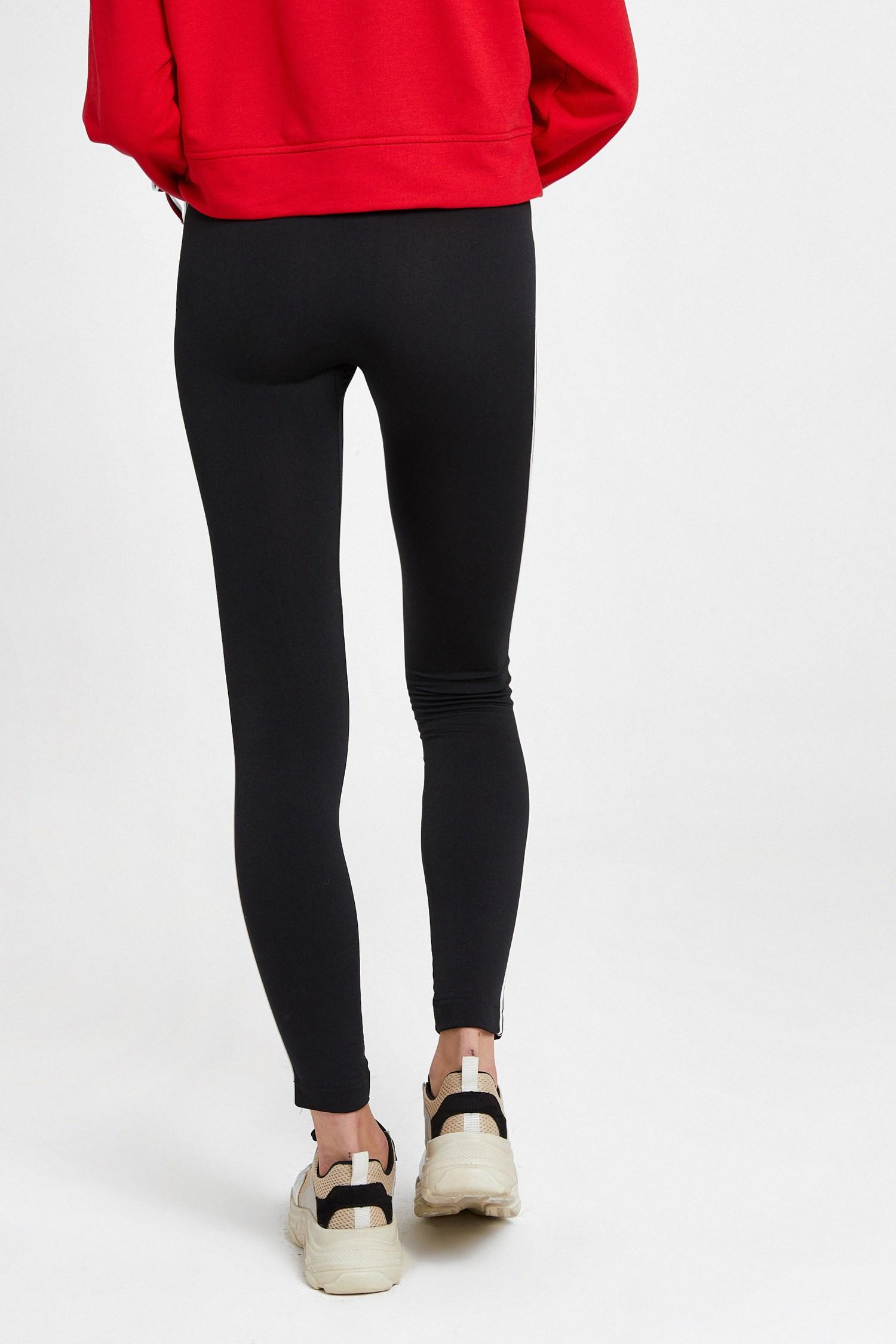 Women Black Leggings with Side Stripes