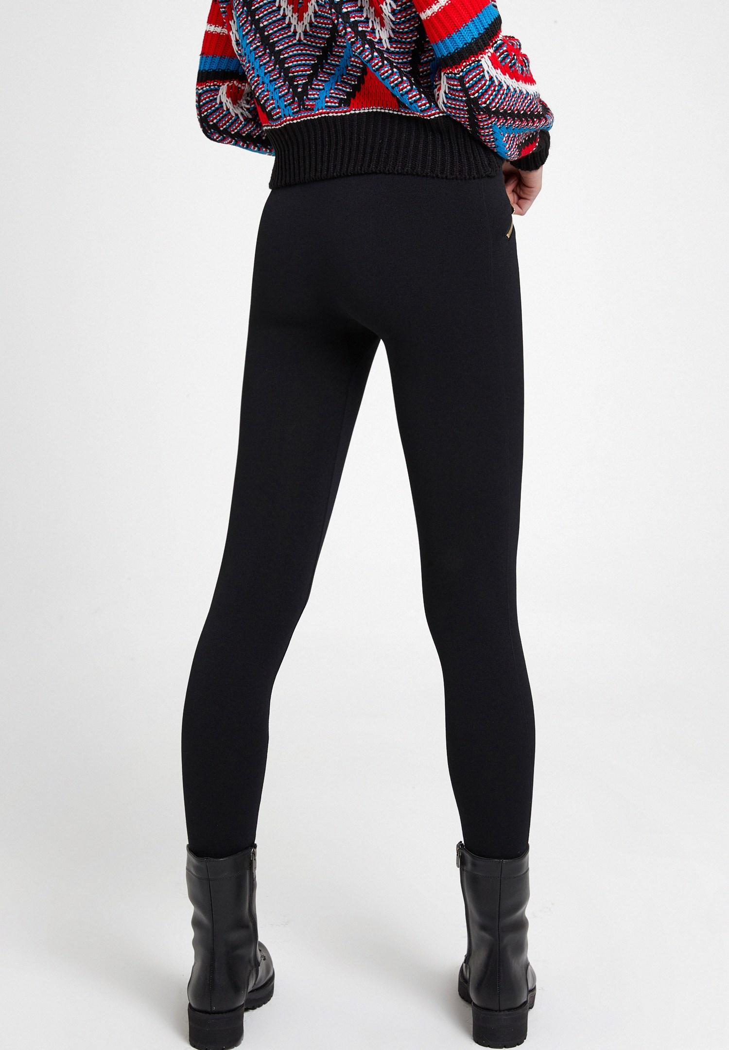 Women Black Leggings with Zips