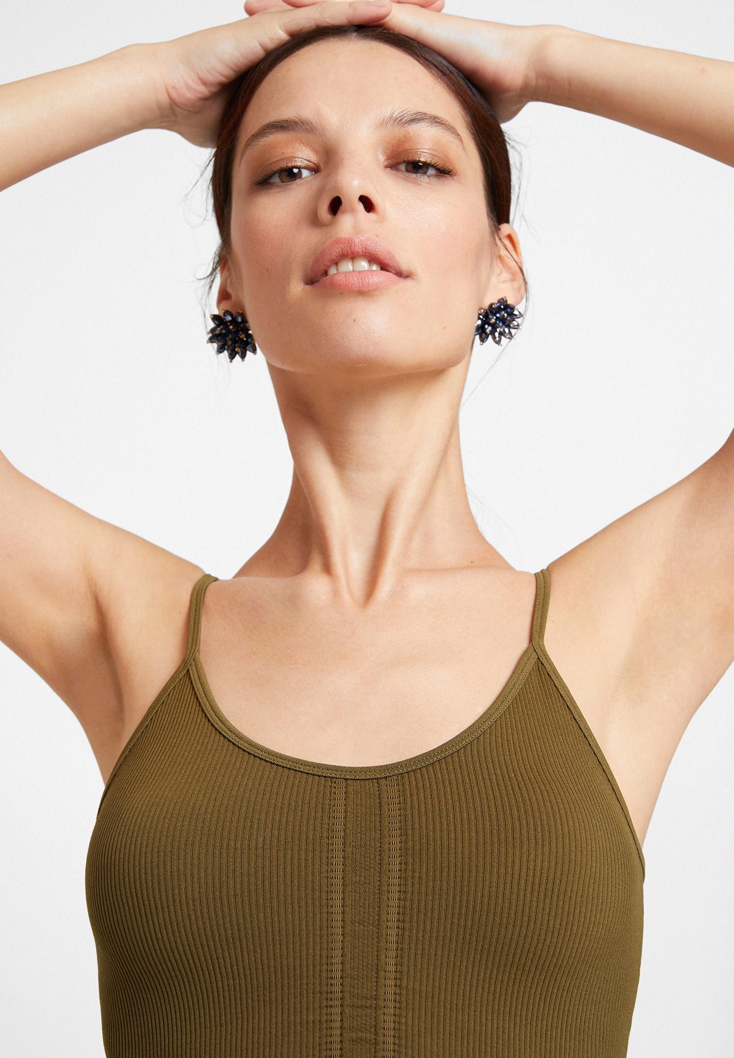 Women Green Textured Crop Top with Details