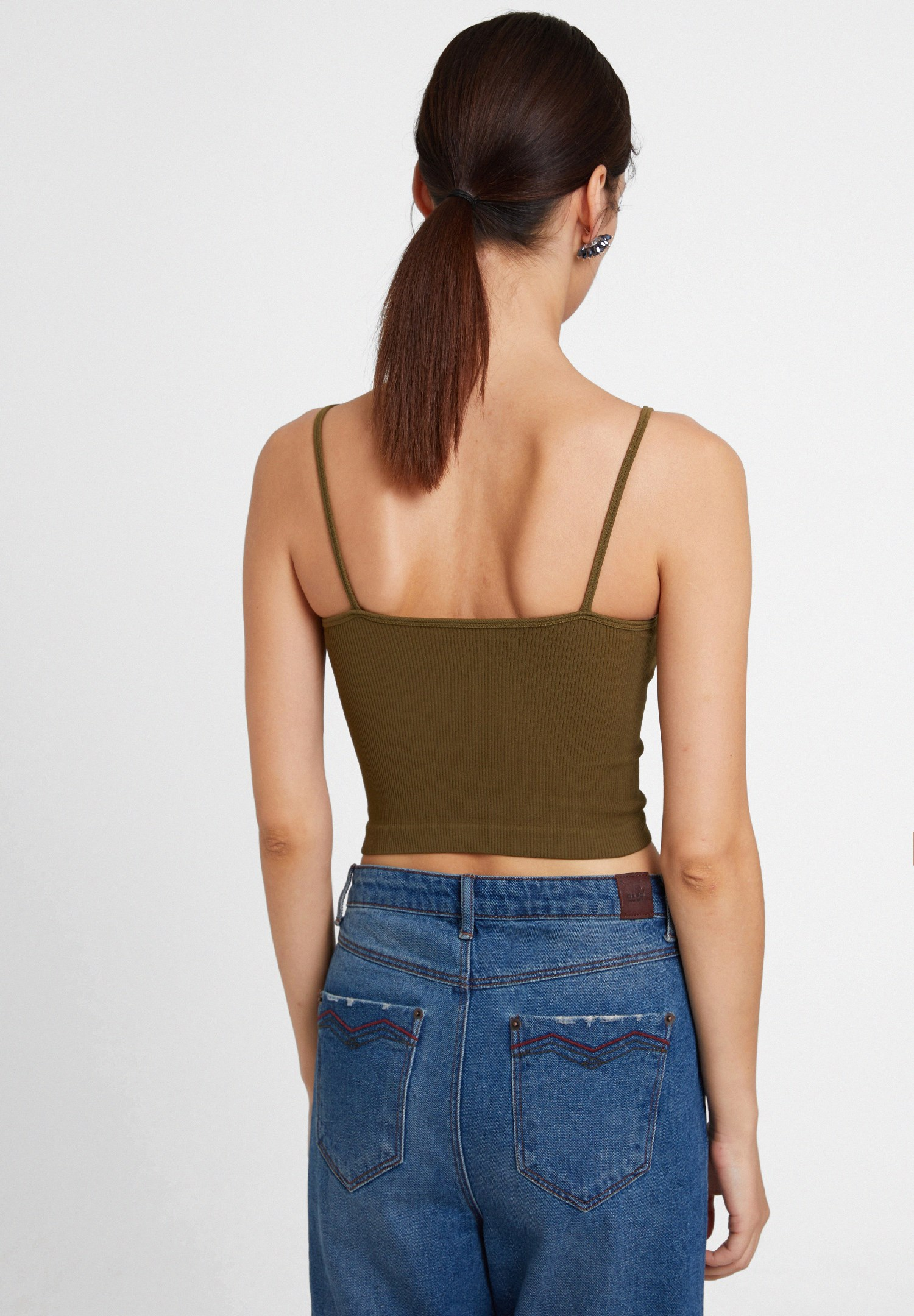 Bayan Yeşil İnce Askılı Crop Bluz