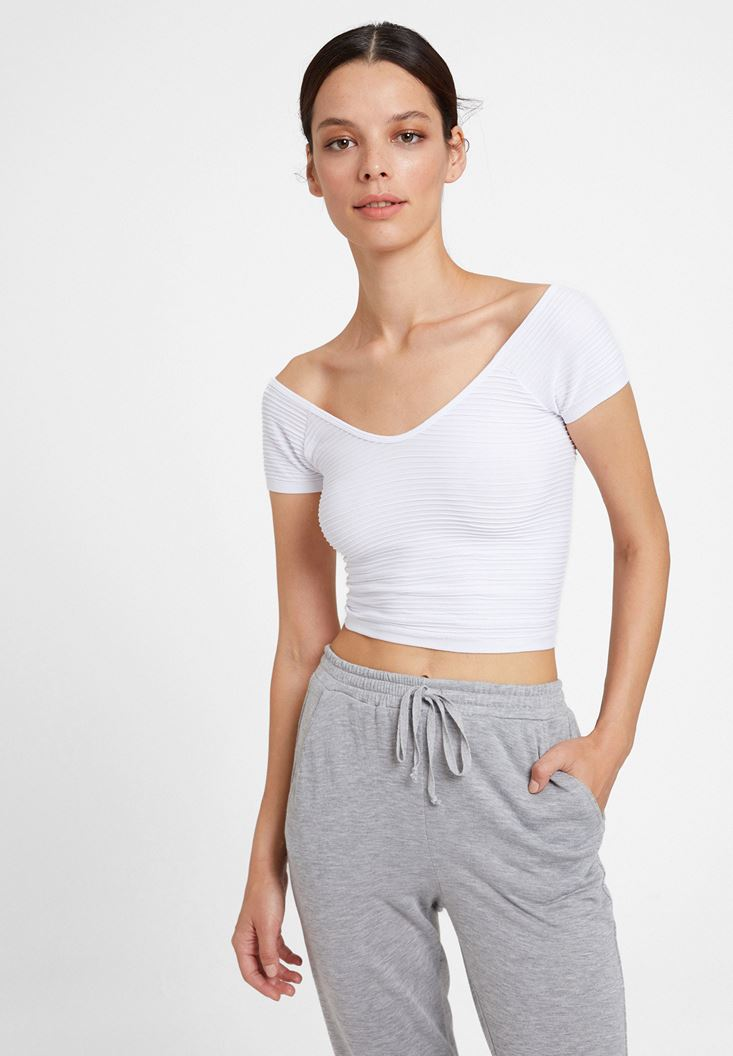 White V Neck Crop Top with Details