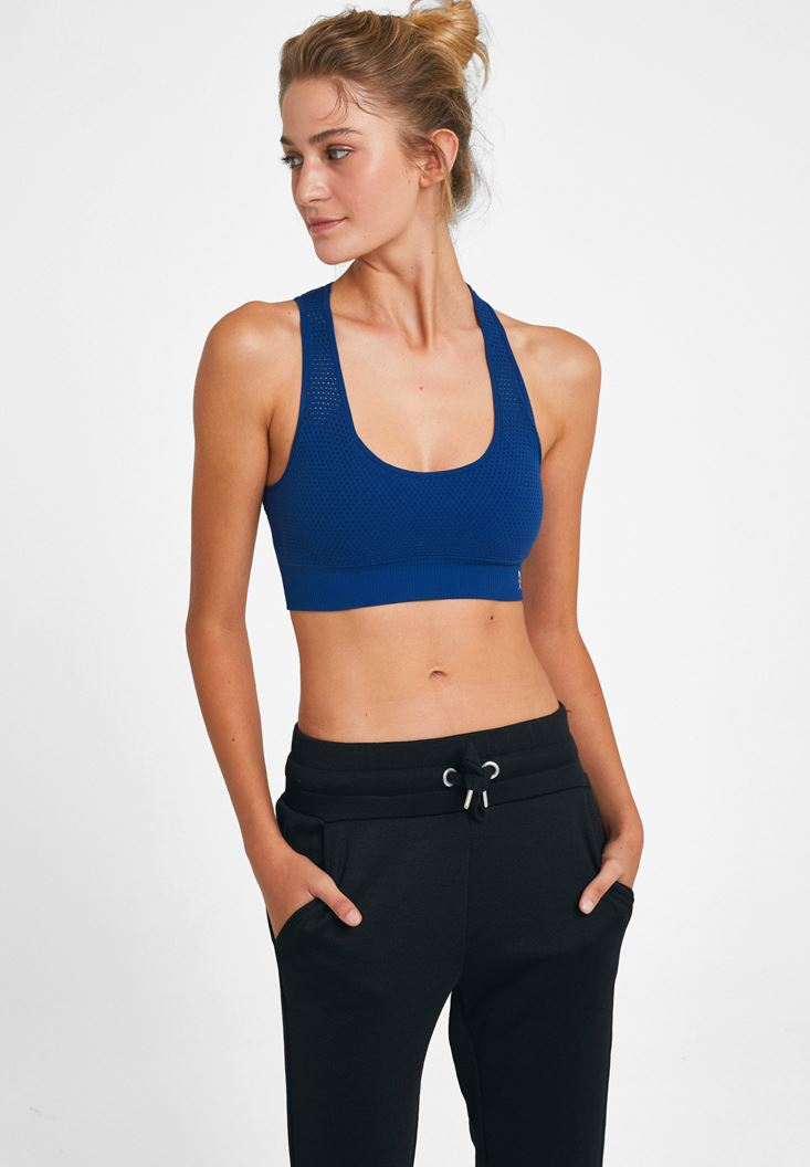 Navy Sport Bra with Back Detail