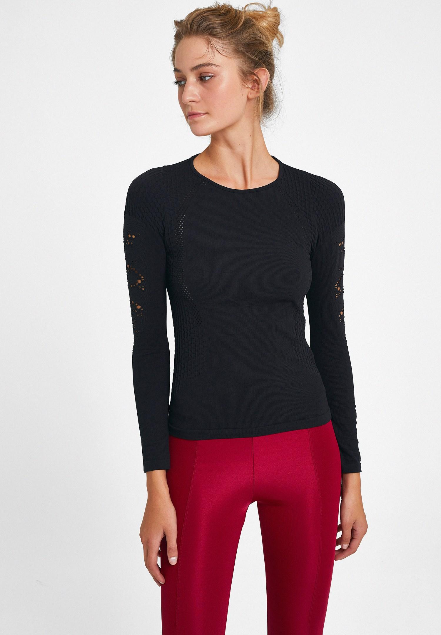 Bayan Siyah Kol Detaylı Spor Tişört