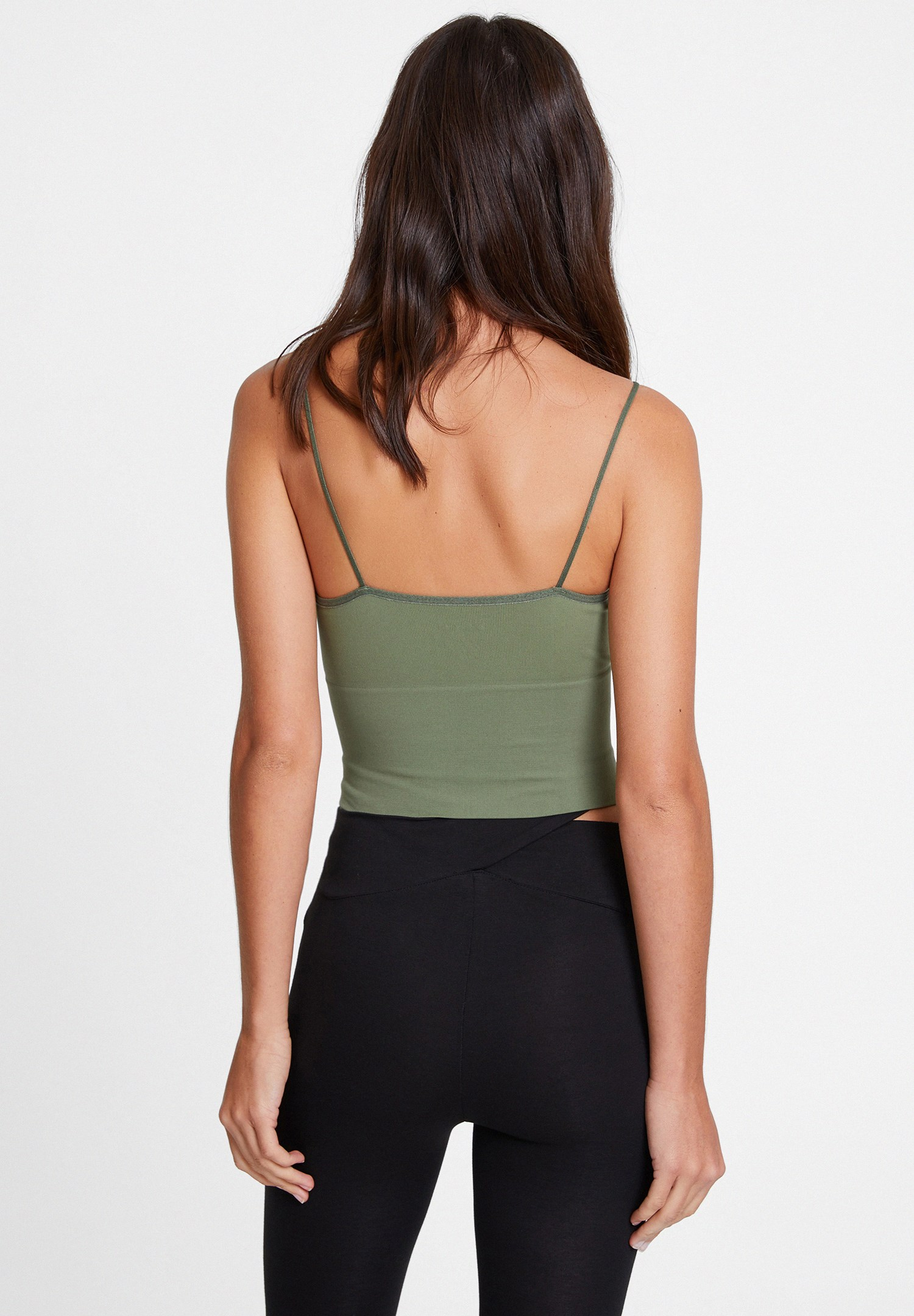 Bayan Yeşil İnce Askılı V Yaka Crop Top
