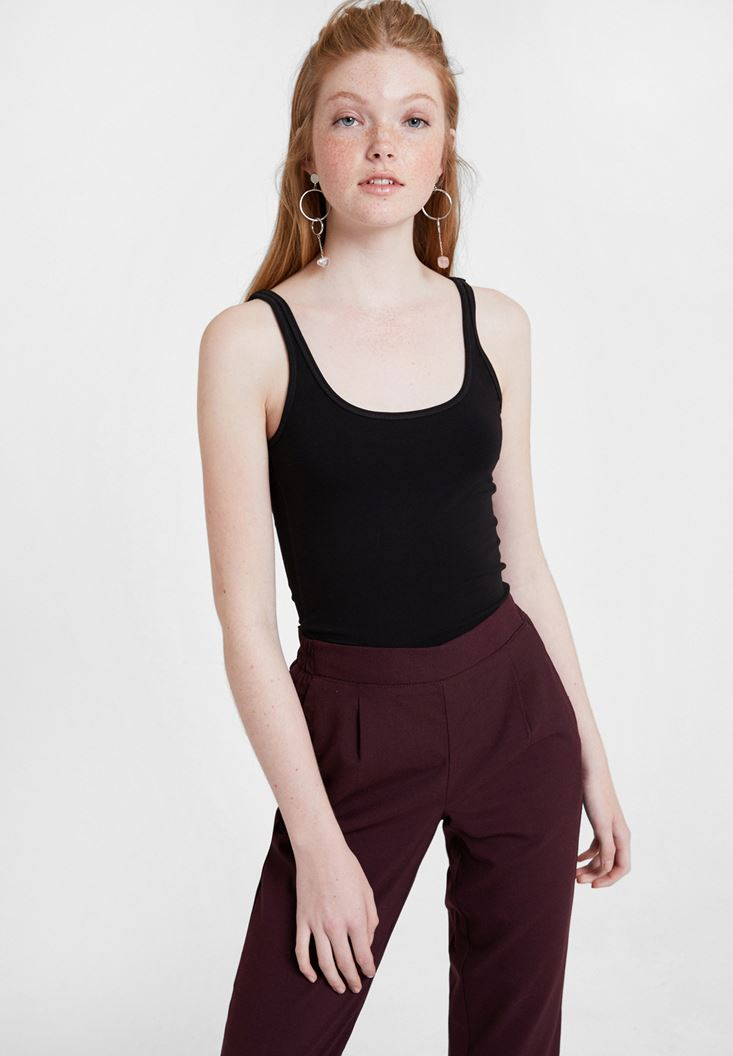 Black Cotton Basic Tank