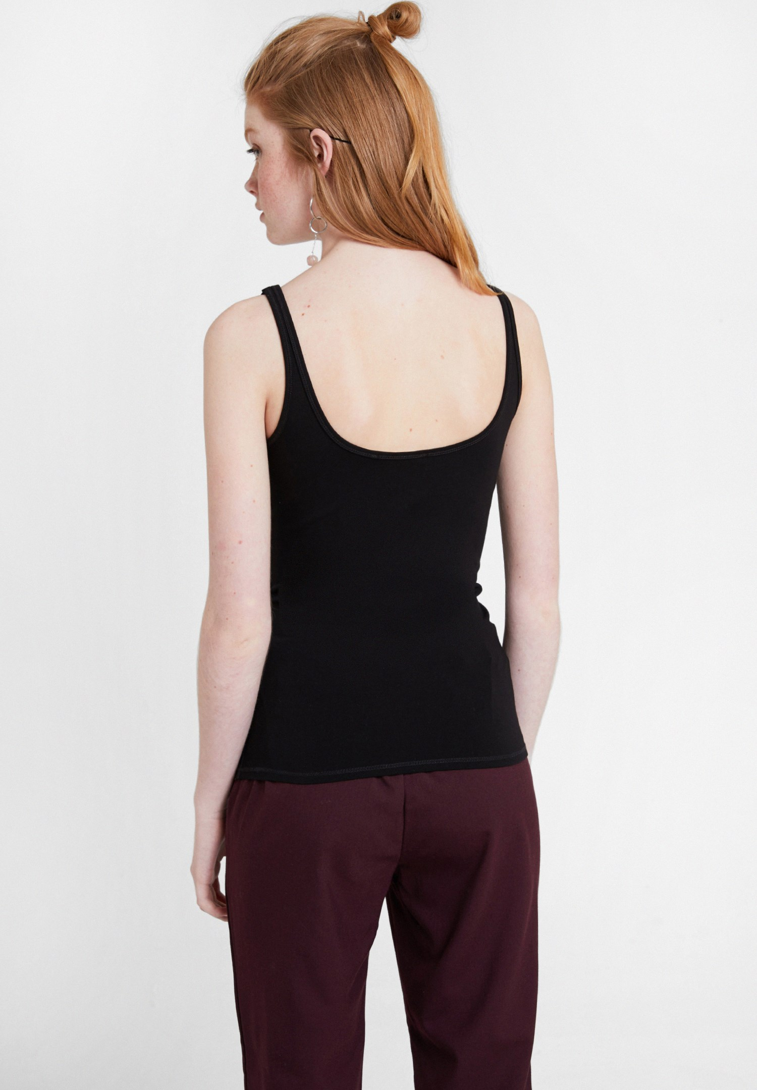 Women Black Cotton Basic Tank