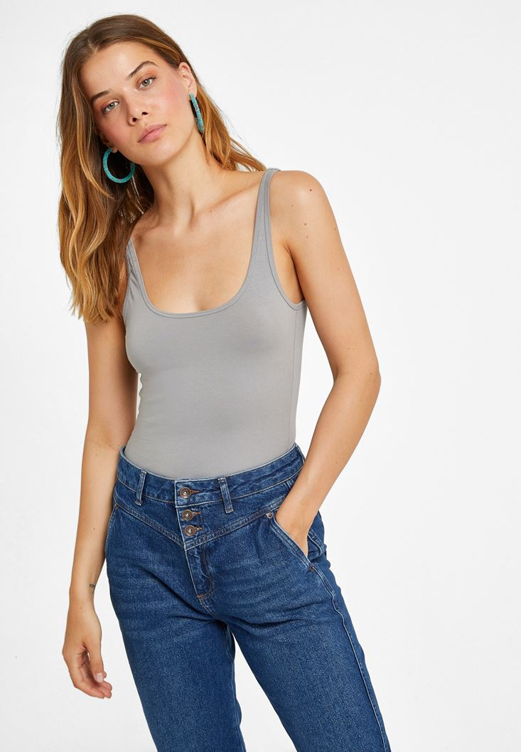 Grey Cotton Basic Tank