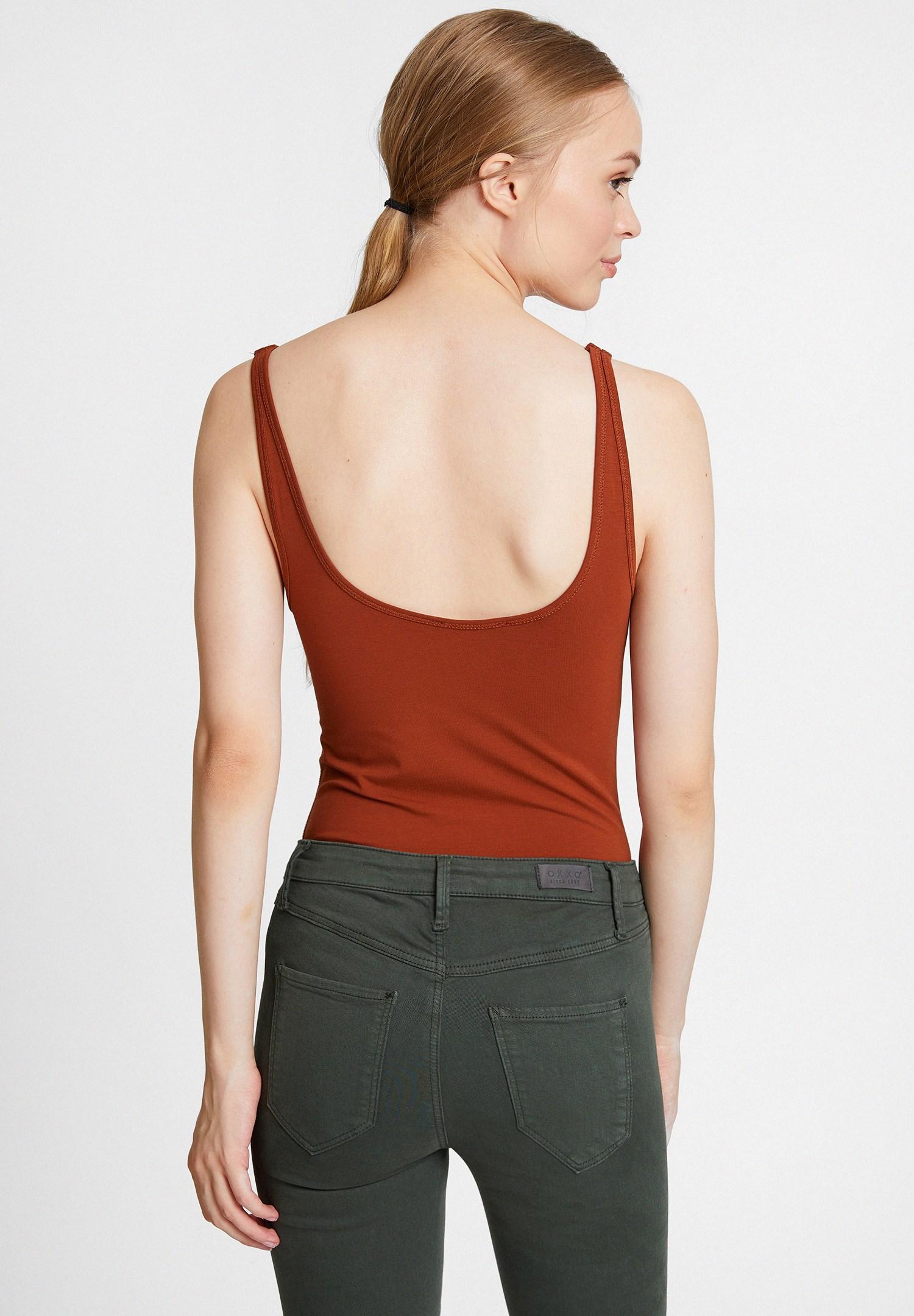 Women Brown Cotton Basic Tank