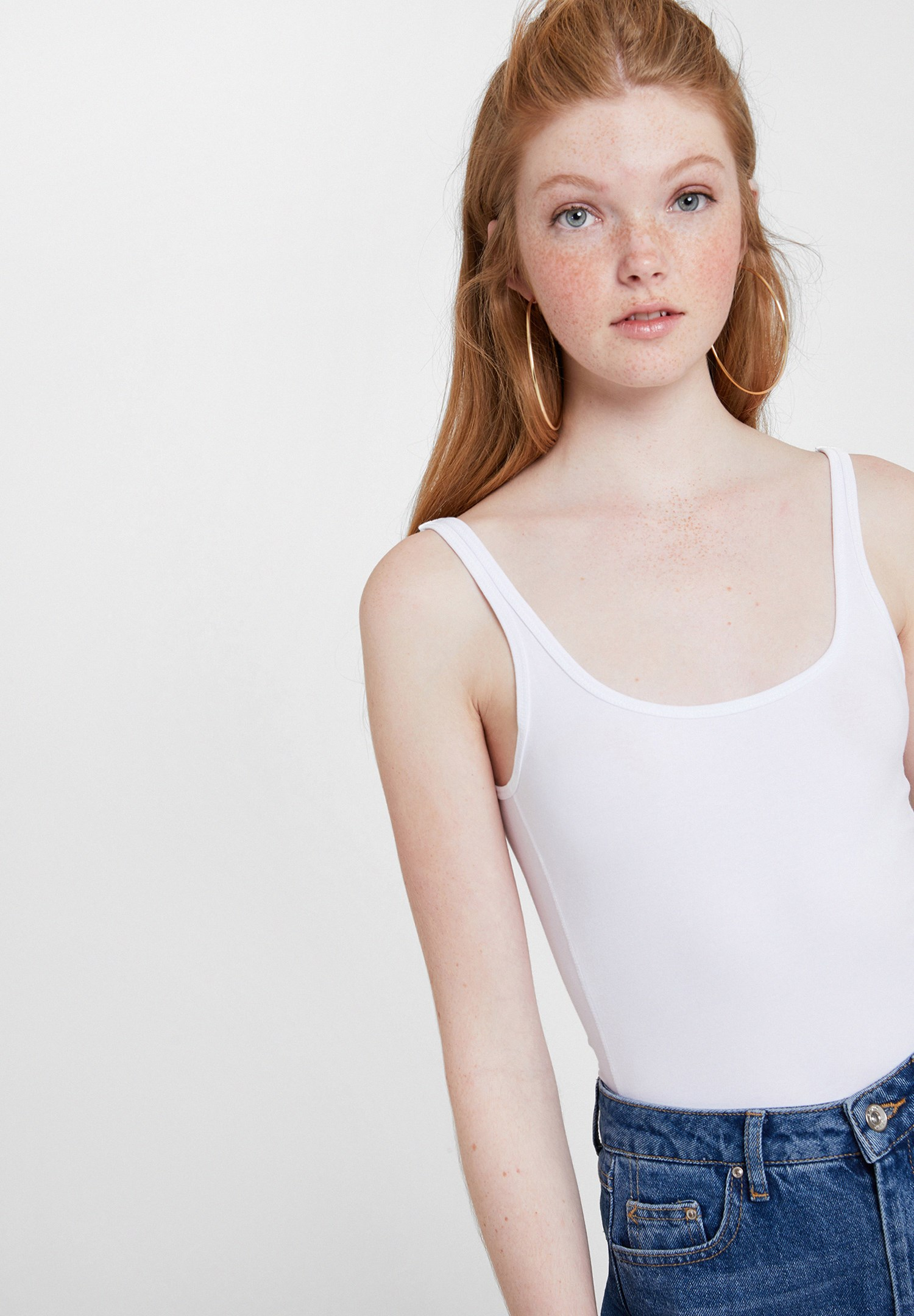 Women White Cotton Basic Tank