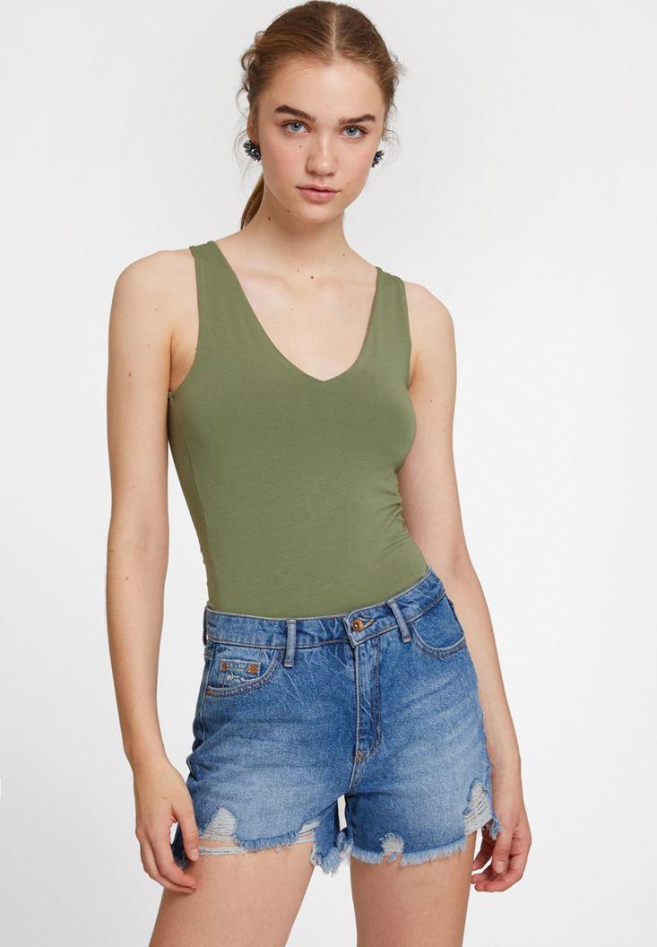 Green V Neck Cotton Tank