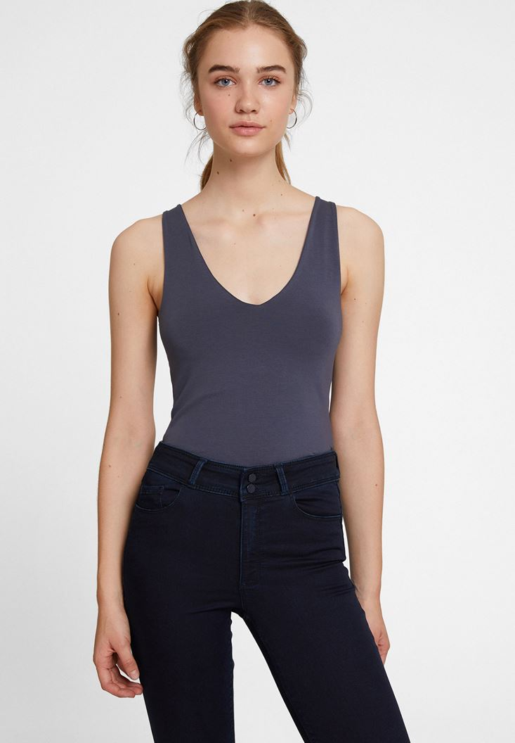 Grey V Neck Cotton Tank