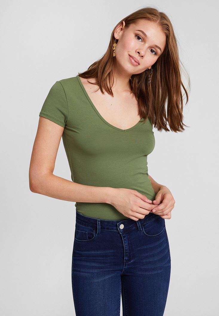 Yeşil Pamuk V Yaka Kısa Kollu Tişört