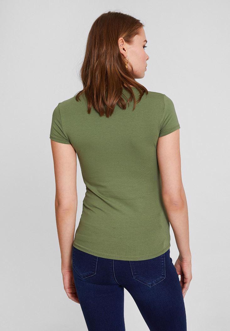 Bayan Yeşil Pamuk V Yaka Kısa Kollu Tişört