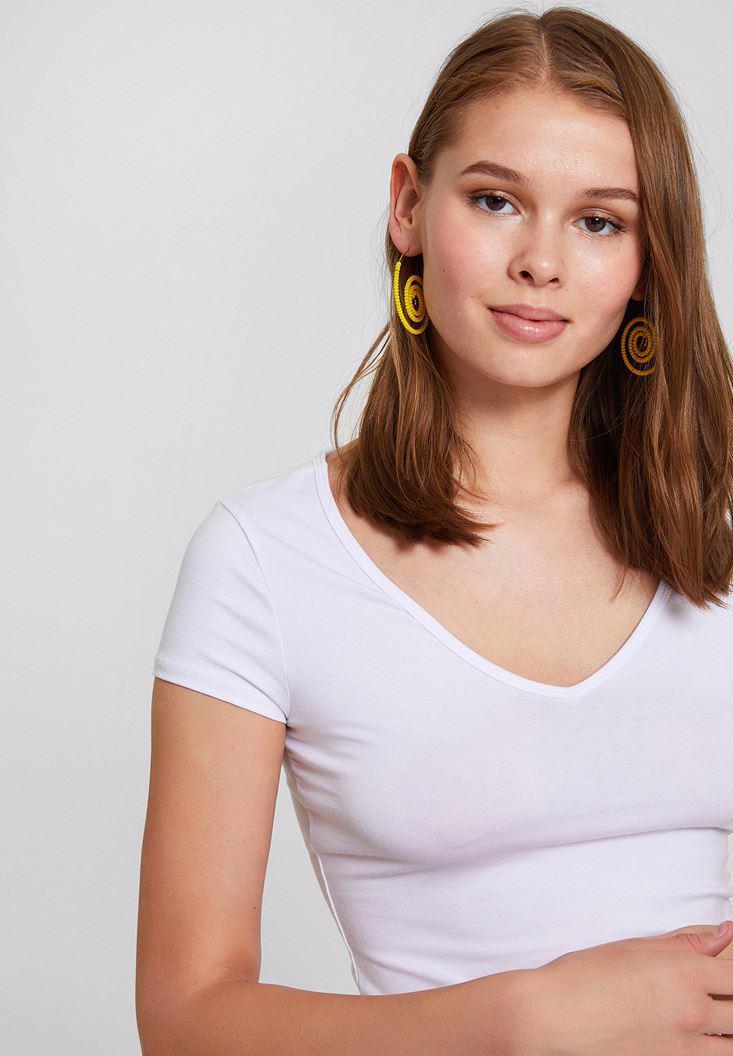 Bayan Beyaz Pamuk V Yaka Kısa Kollu Tişört