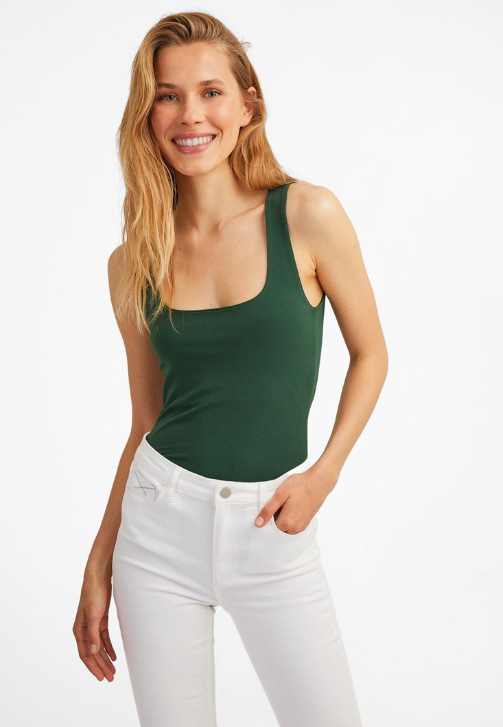 Green Sweetheart Neck Tank Top