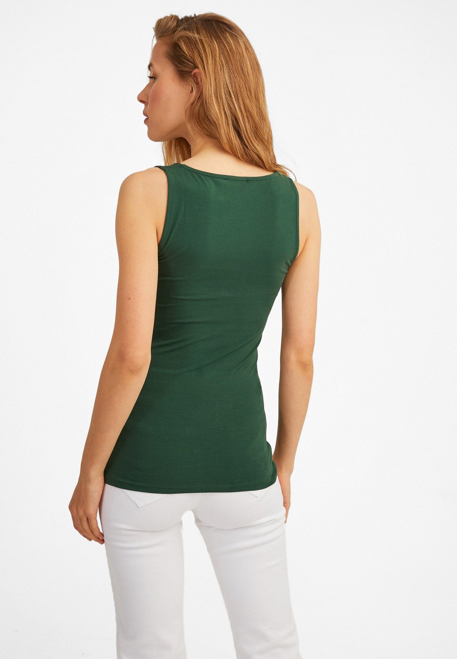 Bayan Yeşil Kalın Askılı Kare Yaka Atlet