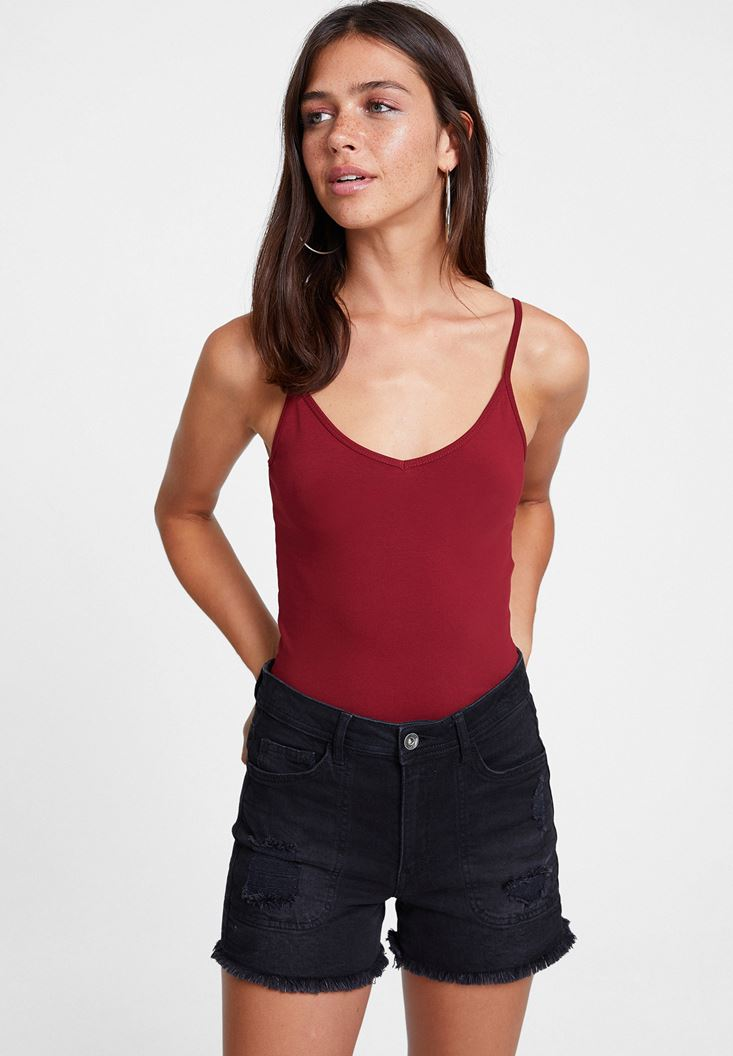 Bordeaux Spaghetti Strap Top