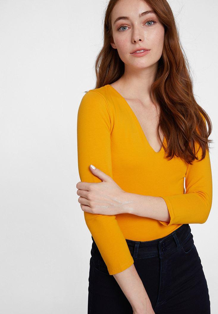 Orange Long Sleeve V Neck T-shirt  with Details