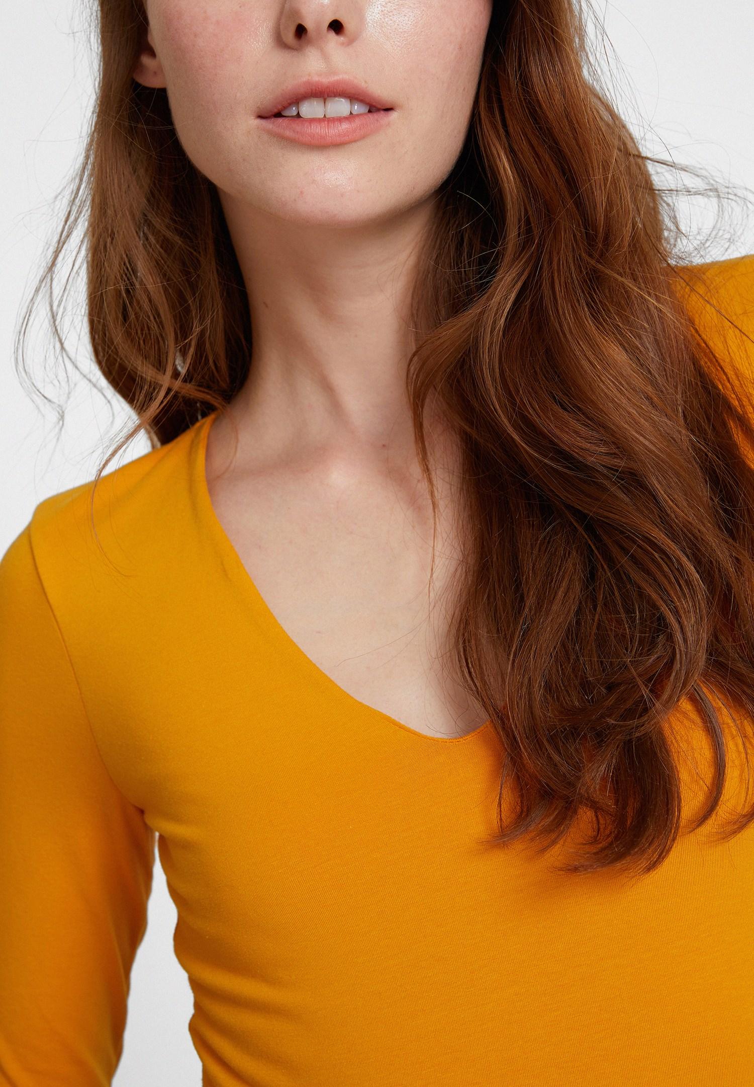 Women Orange Long Sleeve V Neck T-shirt  with Details