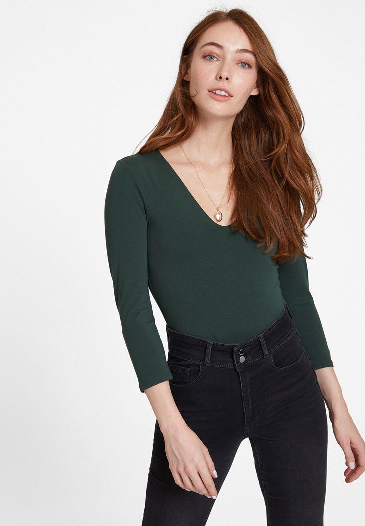 Yeşil Pamuklu V Yaka Tişört