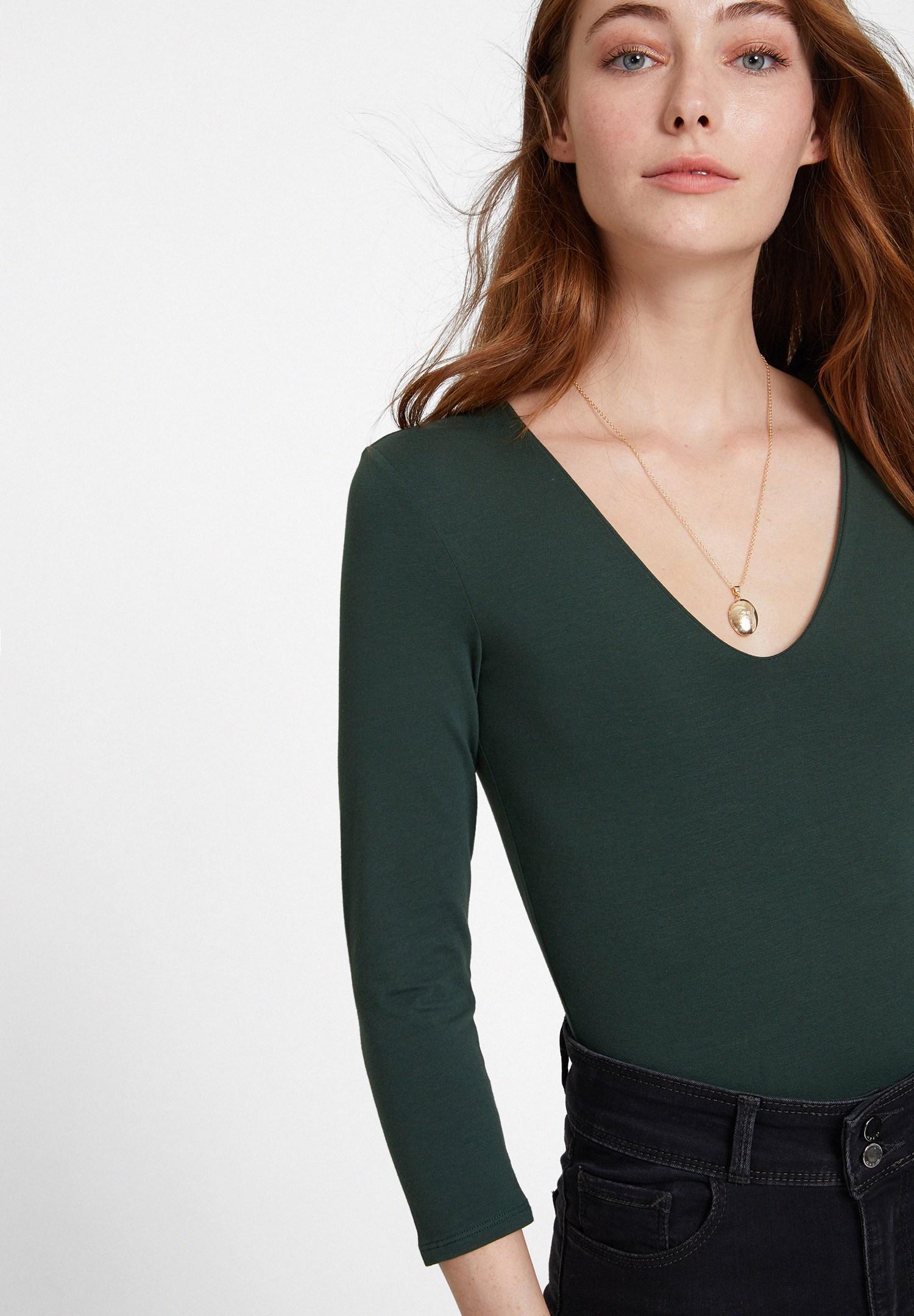 Bayan Yeşil Pamuklu V Yaka Tişört