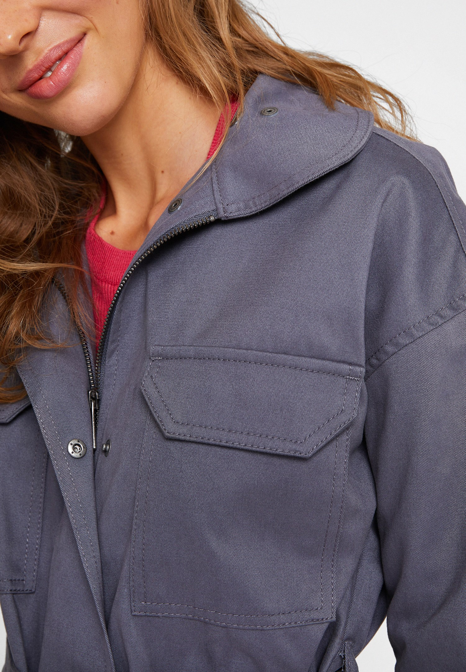Bayan Gri Yaka Detaylı Kemerli Ceket
