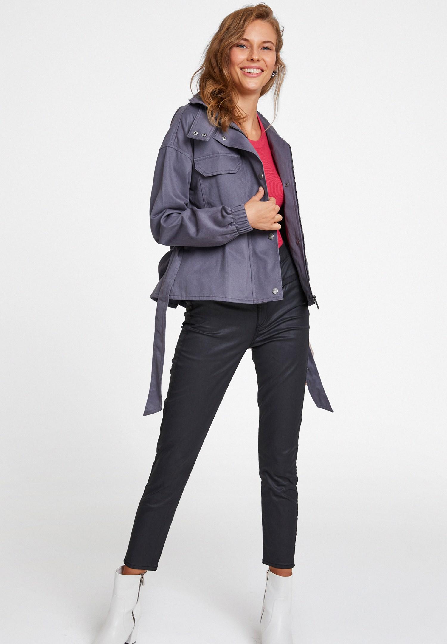 Women Grey Jacket with Belt Details