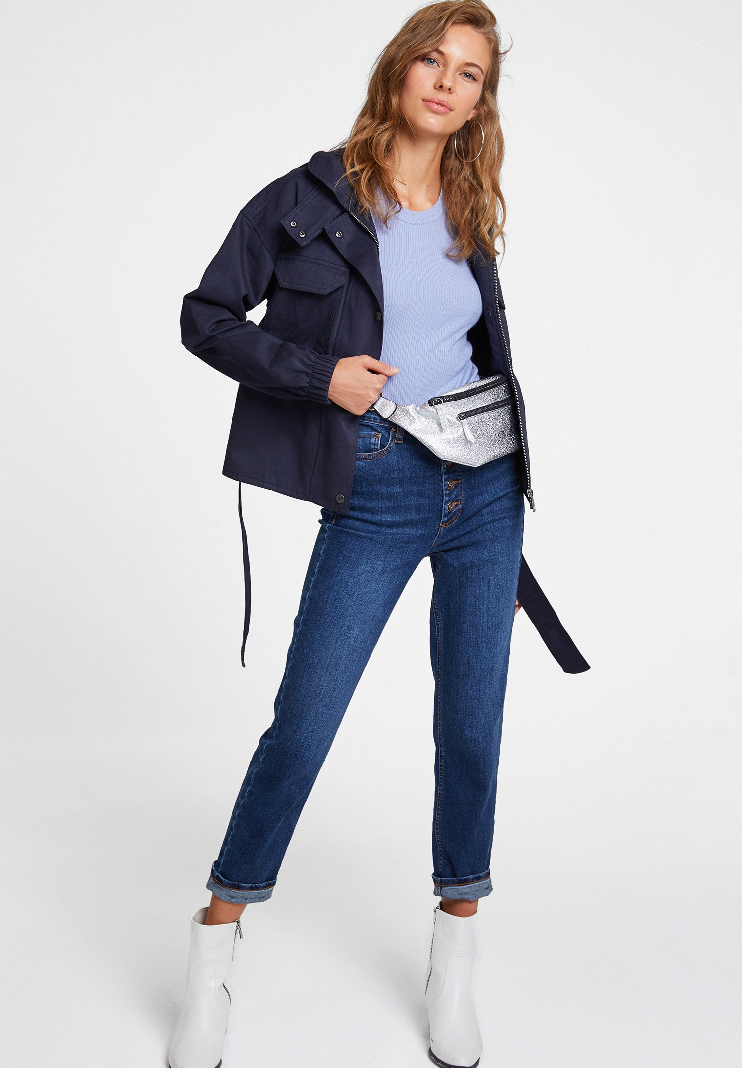 Women Navy Jacket with Belt Details