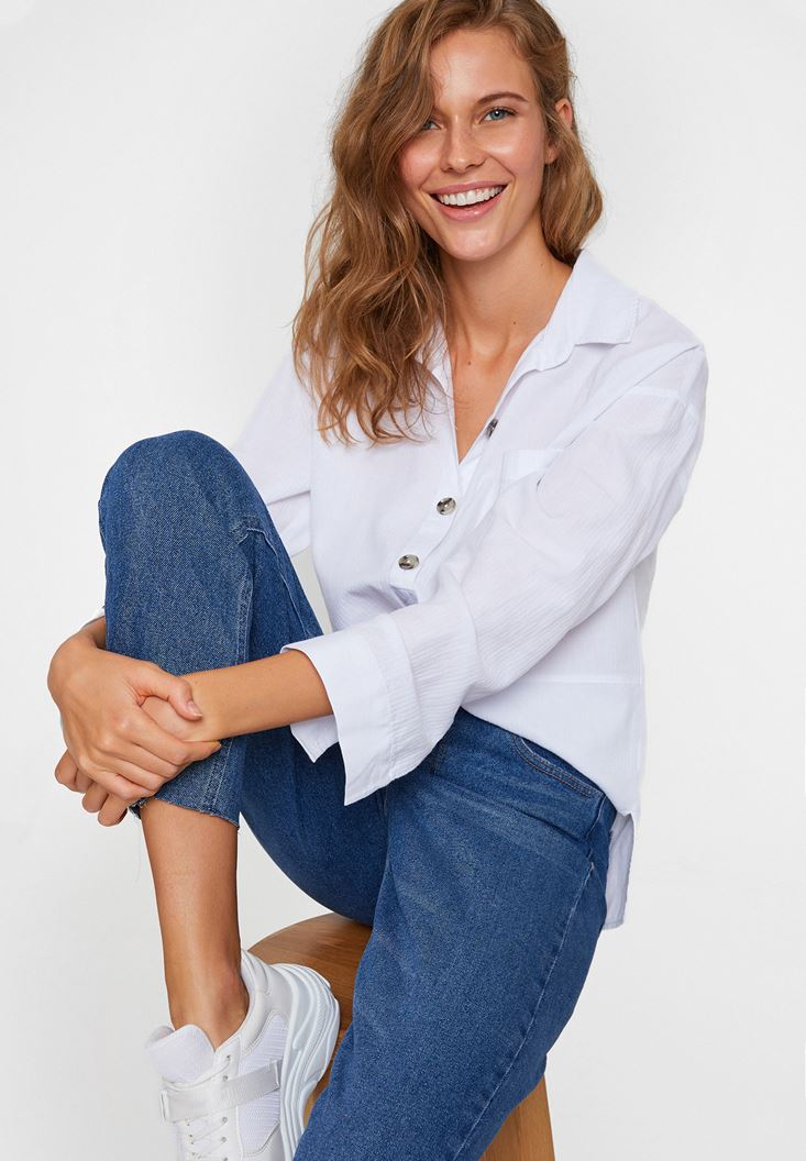 White Cotton Shirt with Buttons