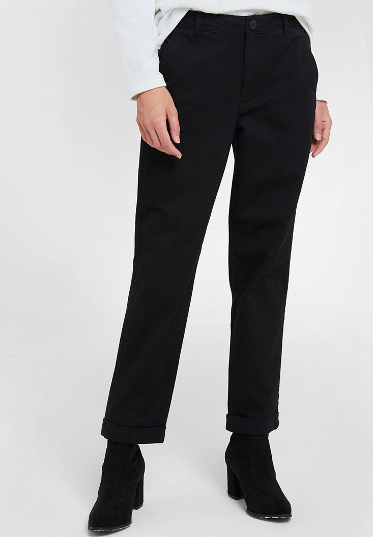 Black High Rise Trousers with Detail