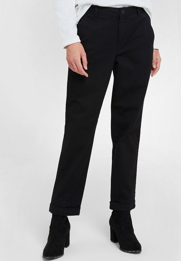 Siyah Yüksek Bel Detaylı Boru Paça Pantolon
