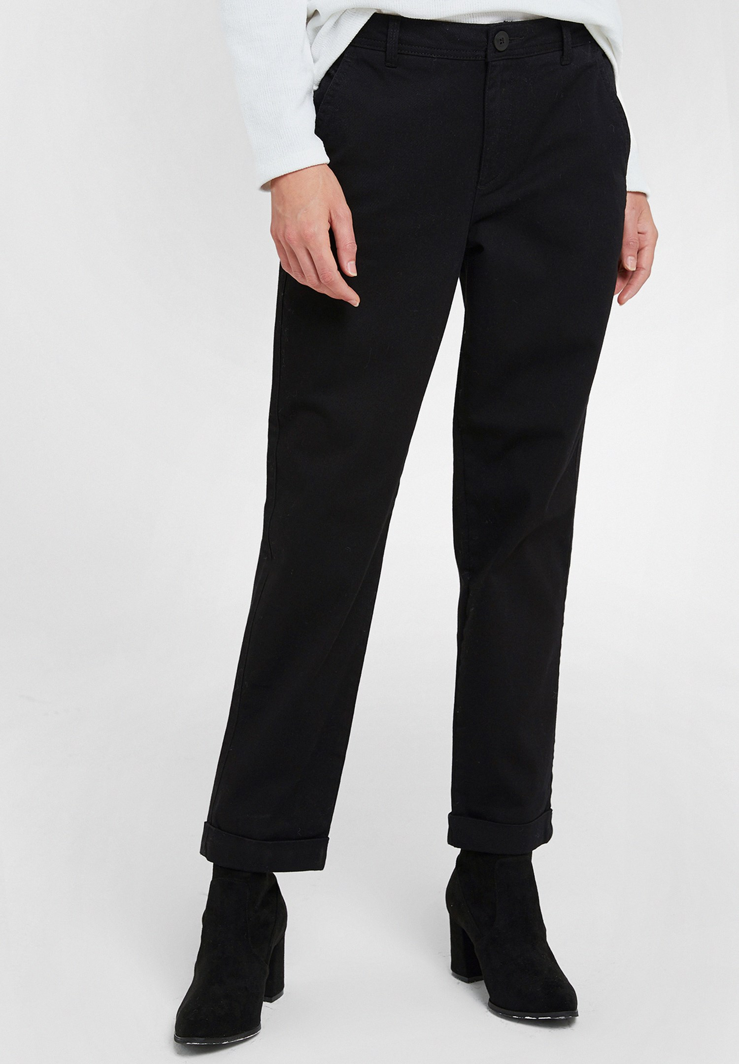 Women Black High Rise Trousers with Detail