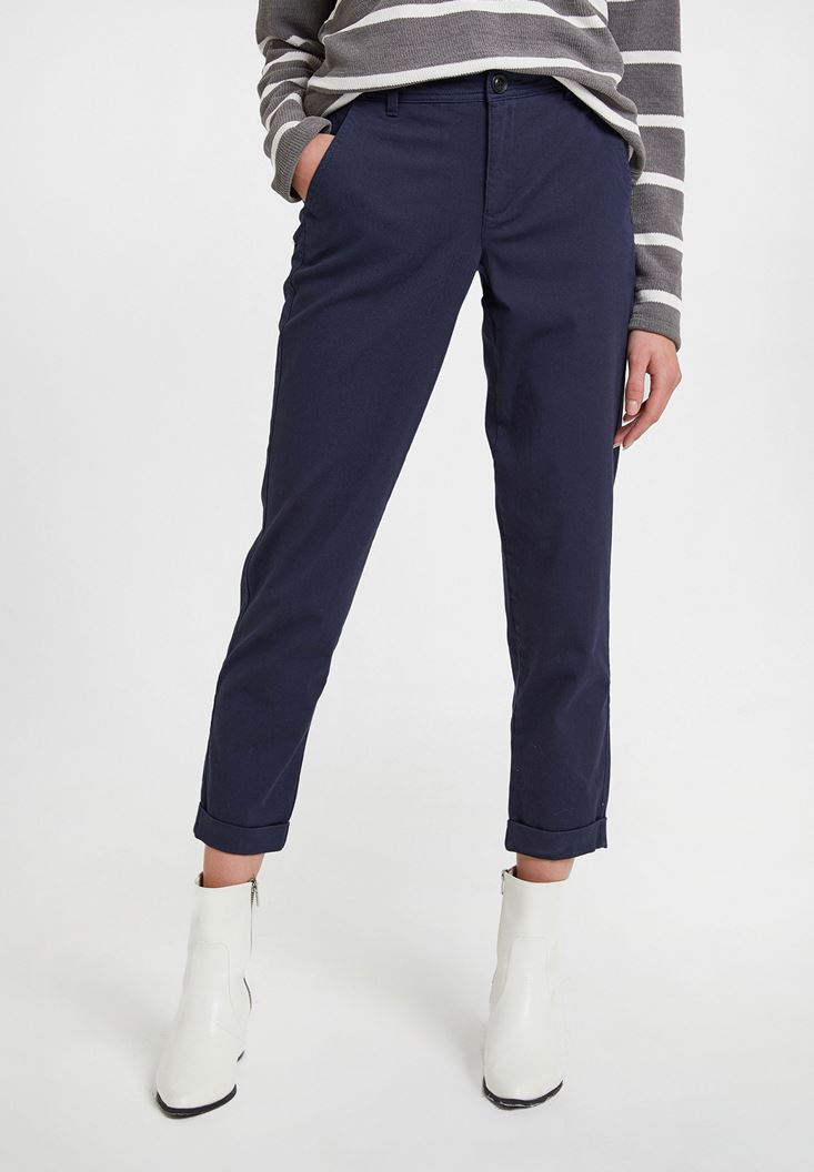 Lacivert Yüksek Bel Detaylı Boru Paça Pantolon