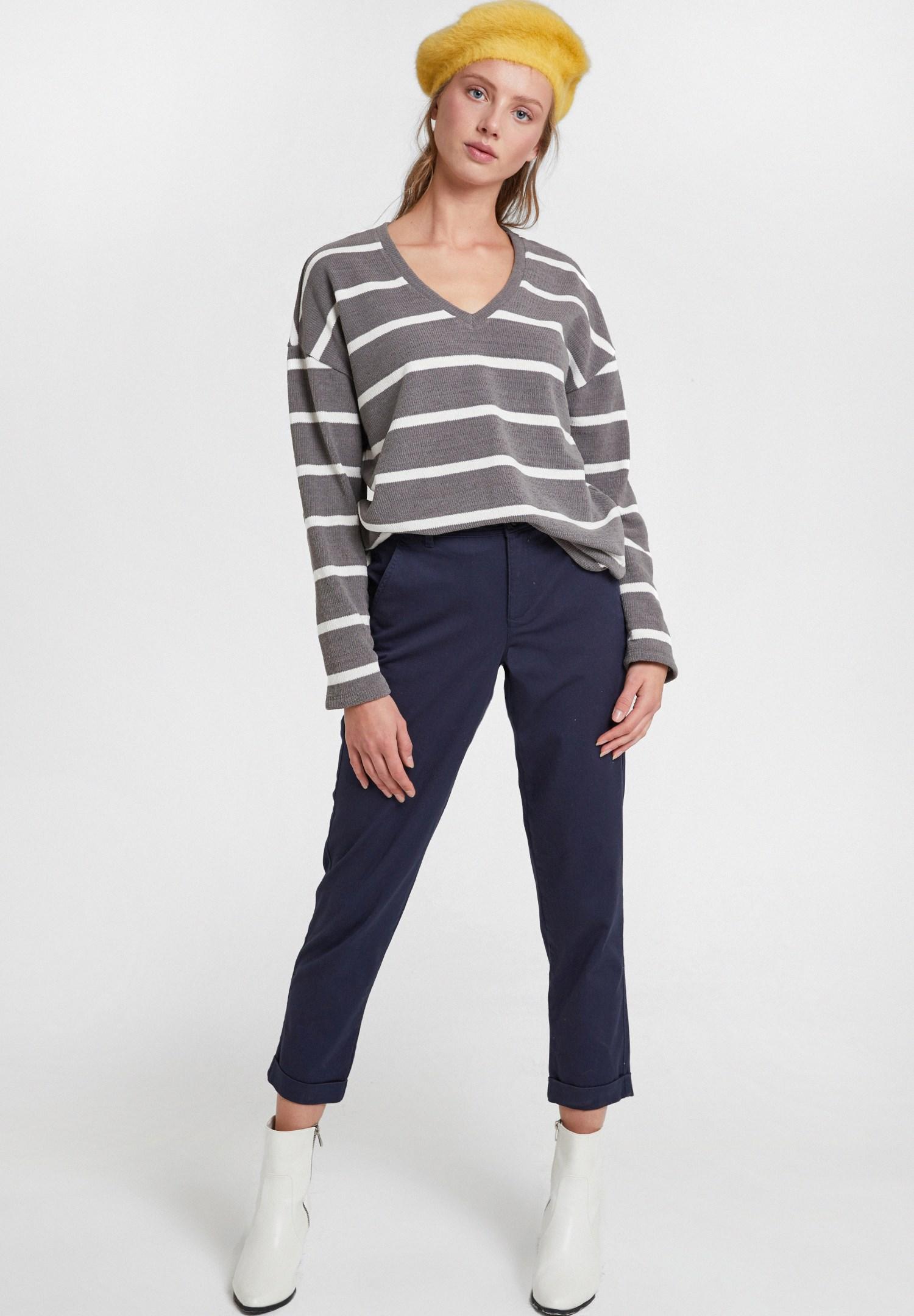 Bayan Lacivert Yüksek Bel Detaylı Boru Paça Pantolon